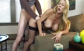 Big Titted Blonde Milf Gets her Wet Pussy Pounded Doggystyle