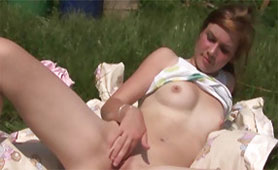 Stunning Barely Legal Teen with Tiny Fingers Explores her Virgin Pussy Outdoor