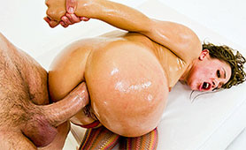 Severe Asshole Pounding with Monster Cock Satisfies Oiled Slut