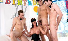 Caring Husband with his Friends Prepared a Birthday Surprise for Kinky Wife